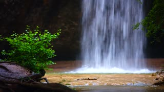 Small waterfall in the forest falling on the ground with some greenery around and splashing making the scene very tranquil and relaxing