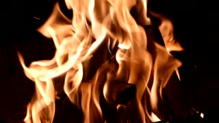 fire on smoldering firewood on a dark background. Slow motion.