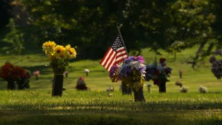 Grave Of Veteran decorated with a Small American Flag in a cemetery.