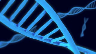 3d animated DNA molecule strands suspended in clear liquid