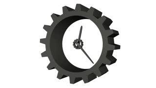 3D gear clock 12-hour time lapse. Loopable footage. Png file with alpha channel included.