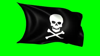 Animated black pirate flag with skull and crossbones waving in the wind, alpha channel included, loopable