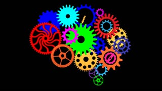 Animated colorful brain gears turning against a black background. Alpha channel included.