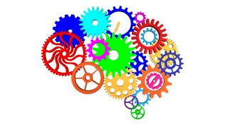 Animated colorful brain gears turning against a white background. Alpha channel included.