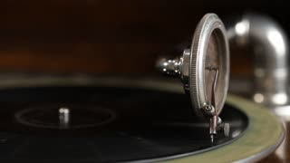 Antique phonograph playing a 75 speed record
