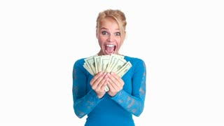Attractive young blonde woman counting money with big smile