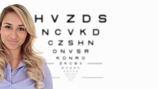 Attractive young Hispanic woman in stylish eyeglasses with eye chart in the background