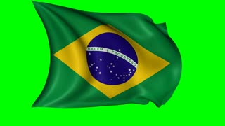 Brazil national flag waving in the wind, loopable animation; isolated with alpha channel included