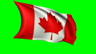 Canadian flag waving in the wind, loopable animation with alpha channel
