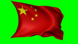 Flag of China waving in a breeze, loopable animation with alpha channel