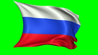 Flag of Russia waving in the wind; looping animation with alpha channel