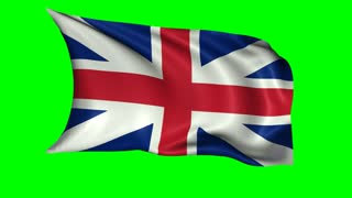 Great Britain flag waving in the wind, loopable animation isolated on a green background. Alpha channel included.