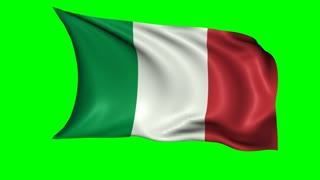 Italian national flag waving in the wind, loopable animation. Alpha channel included.