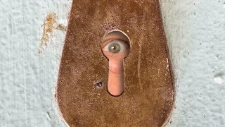 Male eye peeking through vintage keyhole in an old wooden door
