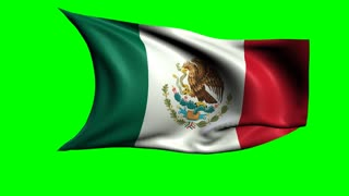 Mexico national flag waving, loopable footage with alpha channel