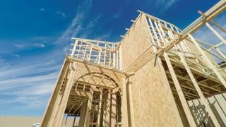 Modern American suburban home exterior construction site