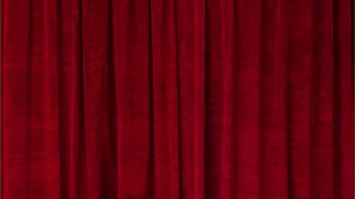 Red velvet curtain opens to reveal a green screen. Alpha channel included for easy background replacement.