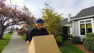 Senior delivery man in a hurry to get the job done