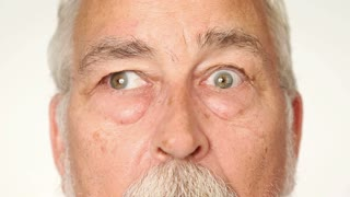 Silly old man with googly eyes