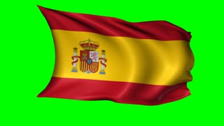 Spain flag waving in the wind. Alpha channel included for easy background replacement, loopable.