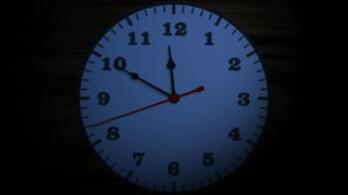 Ten Minutes to Midnight. Time lapse animation of an office wall clock approaching midnight. Doomsday concept.