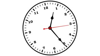 Wall clock 12 hour time lapse with counter-rotating clock face