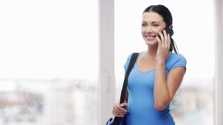 education, technology and people concept - smiling student with bag and smartphone