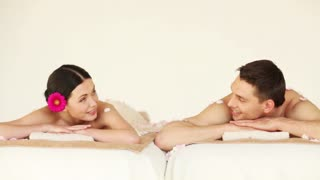 footage of happy couple relaxing in spa salon