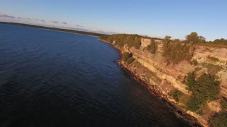 nature and landscape concept - drone shot of aerial view to turisalu pank cliff and baltic sea in estonia