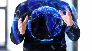 augmented reality and future technology concept - man working with 3d earth planet hologram