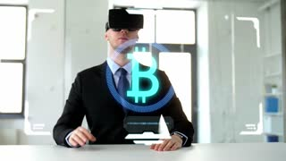 business, augmented reality and financial technology concept - businessman with vr headset and virtual screen mining cryptocurrency at office
