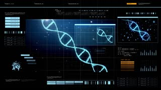 future technology and programming concept - virtual screen with dna molecule over black background