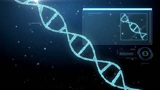 science, genetics and technology concept - 3d rendering of dna molecule and virtual screen over black background