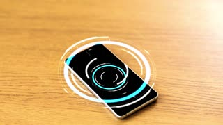 technology concept - smartphone with virtual circuit hologram on wooden table
