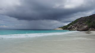 travel, seascape and nature concept - african island beach in indian ocean
