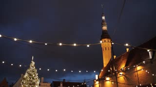 winter holidays, celebration and cityscape concept - illuminated christmas tree at old tallinn town hall square