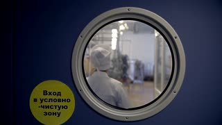 A closed door with a round window, through which a woman in a robe entering the lab can be seen. A sign with Russian words 'The Entrance to the clean zone' is hanging on the wall