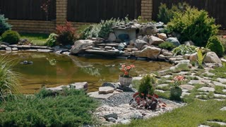 A landscape designer made some decorations in the garden: a beautiful lawn, artificial stone, pond and other decorative items