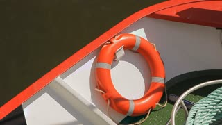 A lifebuoy on board a ship