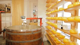 A machine for mixing ingredients for cheese
