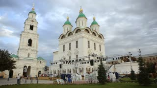 A white church with a bell tower in Russia