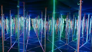 Big mirror maze with glowing edges