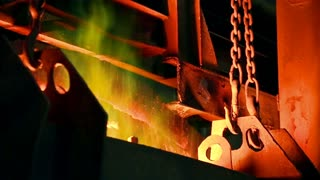 Fire in the furnace at the metallurgical plant