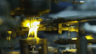 Firing glass ampoules at the glass-blowing factory