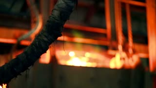 Flame in the furnace at the metallurgical plant