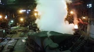 Steam in a smelting factory