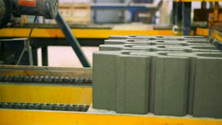 The production of paving stones at the plant
