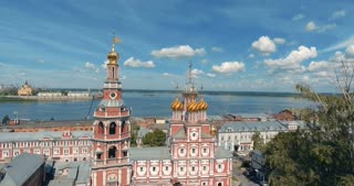 A beautiful church domes in a Russian historic city