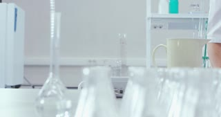 A chemical laboratory with a lot of flasks
