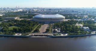 A football stadium in the center of a city